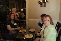 Corinne Hill, Jeanne Liedtka and Ann Greene enjoying tea (photographer Kathleen Burke)