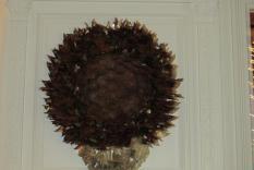 A cone wreath at the Fortnightly Club (Margo Malos, Photograper)